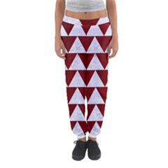 Triangle2 White Marble & Red Grunge Women s Jogger Sweatpants by trendistuff