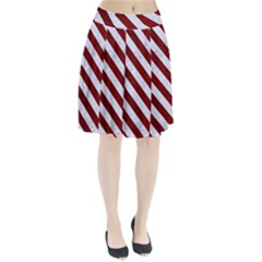 Stripes3 White Marble & Red Grunge Pleated Skirt