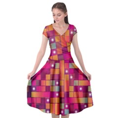 Abstract Background Colorful Cap Sleeve Wrap Front Dress by Sapixe