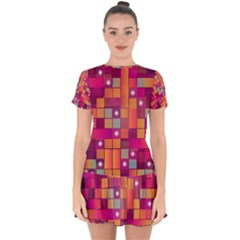 Abstract Background Colorful Drop Hem Mini Chiffon Dress by Sapixe