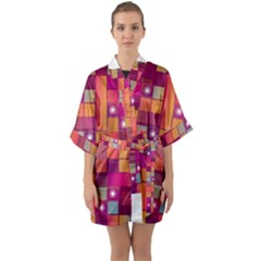 Abstract Background Colorful Quarter Sleeve Kimono Robe by Sapixe
