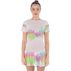 Abstract Color Pattern Colorful Drop Hem Mini Chiffon Dress by Sapixe