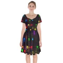 Abstract 3d Cg Digital Art Colors Cubes Square Shapes Pattern Dark Short Sleeve Bardot Dress by Sapixe