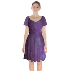 Abstract Purple Pattern Background Short Sleeve Bardot Dress by Sapixe