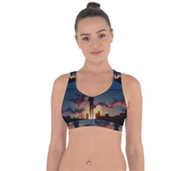 Art Sunset Anime Afternoon Cross String Back Sports Bra by Sapixe