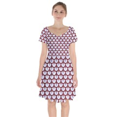 Scales3 White Marble & Red Grunge (r) Short Sleeve Bardot Dress by trendistuff