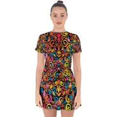 Art Traditional Pattern Drop Hem Mini Chiffon Dress by Sapixe