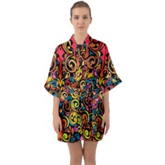 Art Traditional Pattern Quarter Sleeve Kimono Robe by Sapixe