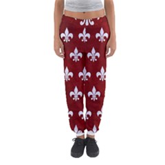 Royal1 White Marble & Red Grunge (r) Women s Jogger Sweatpants by trendistuff