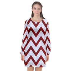 Chevron9 White Marble & Red Grunge (r) Long Sleeve Chiffon Shift Dress