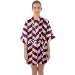 Chevron1 White Marble & Red Grunge Quarter Sleeve Kimono Robe by trendistuff