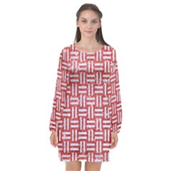 Woven1 White Marble & Red Glitter Long Sleeve Chiffon Shift Dress  by trendistuff
