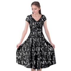 Antique Roman Typographic Pattern Cap Sleeve Wrap Front Dress by dflcprints