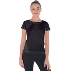 Black Light Dark Figures Short Sleeve Sports Top  by Sapixe