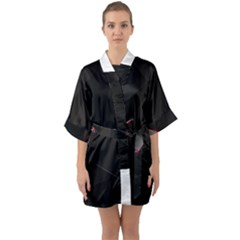 Black Light Dark Figures Quarter Sleeve Kimono Robe by Sapixe