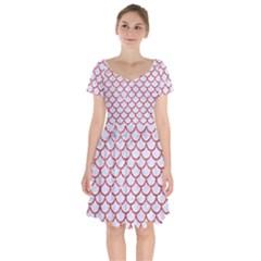 Scales1 White Marble & Red Glitter (r) Short Sleeve Bardot Dress