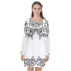 Bouquet Flower Decoration Pattern Long Sleeve Chiffon Shift Dress  by Sapixe