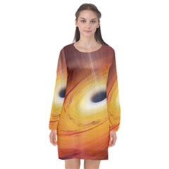 Black Hole Long Sleeve Chiffon Shift Dress  by Sapixe