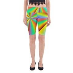 Burst Radial Shine Sunburst Sun Yoga Cropped Leggings by Sapixe