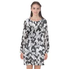 Camouflage Tarn Texture Pattern Long Sleeve Chiffon Shift Dress  by Sapixe