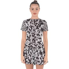 Camouflage Tarn Texture Pattern Drop Hem Mini Chiffon Dress by Sapixe