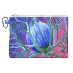 Blue Flowers With Thorns Canvas Cosmetic Bag (xl) by Sapixe