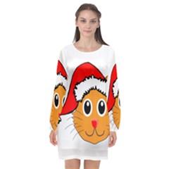 Cat Christmas Cartoon Clip Art Long Sleeve Chiffon Shift Dress  by Sapixe