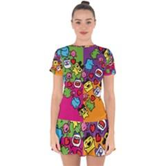 Cartoon Pattern Drop Hem Mini Chiffon Dress by Sapixe
