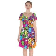 Cartoon Pattern Short Sleeve Bardot Dress