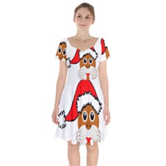 Child Of Artemis Christmas Animal Clipart Short Sleeve Bardot Dress by Sapixe