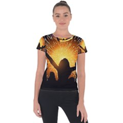 Celebration Night Sky With Fireworks In Various Colors Short Sleeve Sports Top  by Sapixe