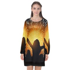 Celebration Night Sky With Fireworks In Various Colors Long Sleeve Chiffon Shift Dress  by Sapixe