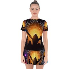 Celebration Night Sky With Fireworks In Various Colors Drop Hem Mini Chiffon Dress by Sapixe