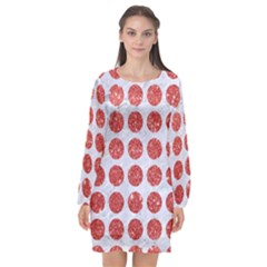 Circles1 White Marble & Red Glitter (r) Long Sleeve Chiffon Shift Dress  by trendistuff