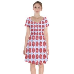 Circles1 White Marble & Red Glitter (r) Short Sleeve Bardot Dress