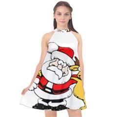 Christmas Santa Claus Halter Neckline Chiffon Dress