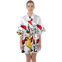 Christmas Santa Claus Quarter Sleeve Kimono Robe by Sapixe