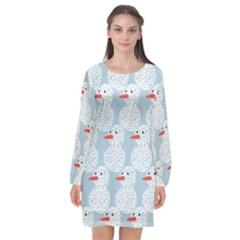 Christmas Wrapping Papers Long Sleeve Chiffon Shift Dress  by Sapixe
