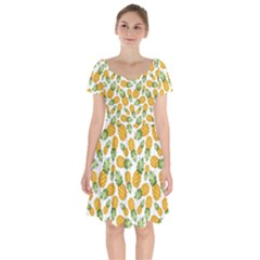 Pineapple Pattern Short Sleeve Bardot Dress