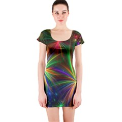 Colorful Firework Celebration Graphics Short Sleeve Bodycon Dress
