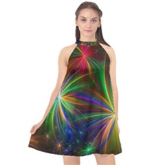 Colorful Firework Celebration Graphics Halter Neckline Chiffon Dress  by Sapixe