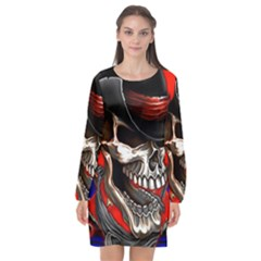 Confederate Flag Usa America United States Csa Civil War Rebel Dixie Military Poster Skull Long Sleeve Chiffon Shift Dress  by Sapixe