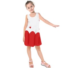 Heart Shape Background Love Kids  Sleeveless Dress