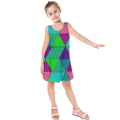 Background Geometric Triangle Kids  Sleeveless Dress by Nexatart
