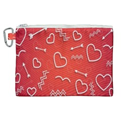 Background Valentine S Day Love Canvas Cosmetic Bag (xl)