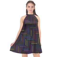Lines Line Background Halter Neckline Chiffon Dress