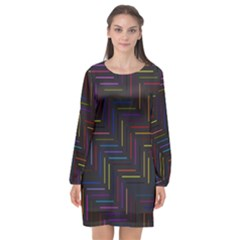 Lines Line Background Long Sleeve Chiffon Shift Dress  by Nexatart