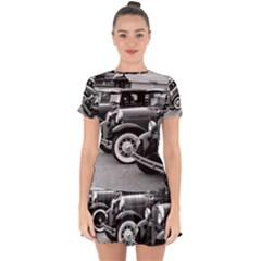 Vehicle Car Transportation Vintage Drop Hem Mini Chiffon Dress by Nexatart