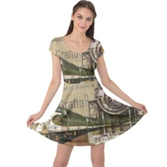 Train Vintage Tracks Travel Old Cap Sleeve Dress