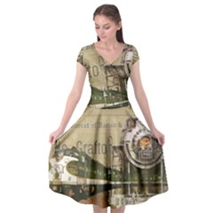 Train Vintage Tracks Travel Old Cap Sleeve Wrap Front Dress by Nexatart